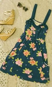 Hollister Navy Blue Floral Casual Dress Size Small